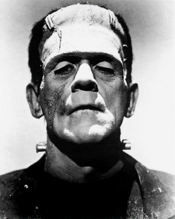 Frankenstein old movie actor in black and white photo