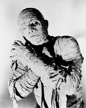 Mummy old movie actor in black and white photo