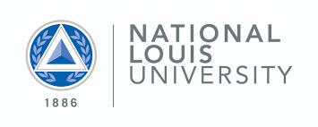 National Louis University Logo. To the right there is a blue circle with leaves and a triangle inside with the year 1886 below. On the right, there is grey text stating National Louis University.